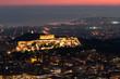 beleuchtete akropolis im Abendrot