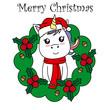 Merry Christmas card. Unicorn inside a garland