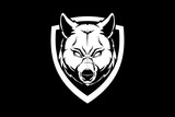 amazing black and white wolf or dog head with shield vector crest logo template