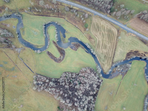 Foto Murales drone over river