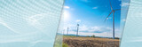 Wind turbines in a rural landscape. panoramic banner