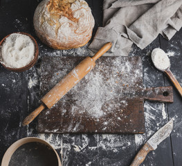 baked bread, white wheat flour, wooden rolling pin