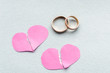 Wedding rings and broken hearts. Concept divorce
