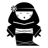 Japan Doll with Traditional Hairstyle in National Dress Kimono. Vector Illustration.