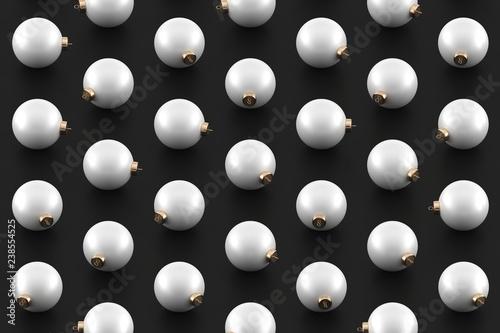 Minimal Christmas pattern. White Christmas ornaments on black glossy background. - 238554525