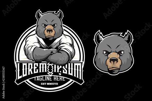cute bear wear wearing martial arts kimono vector around logo template