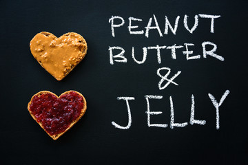 Heart shaped peanut butter sandwich
