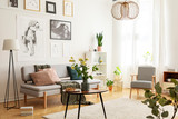 Flowers on wooden table next to grey couch in living room interior with lamp and posters. Real photo - 238561115