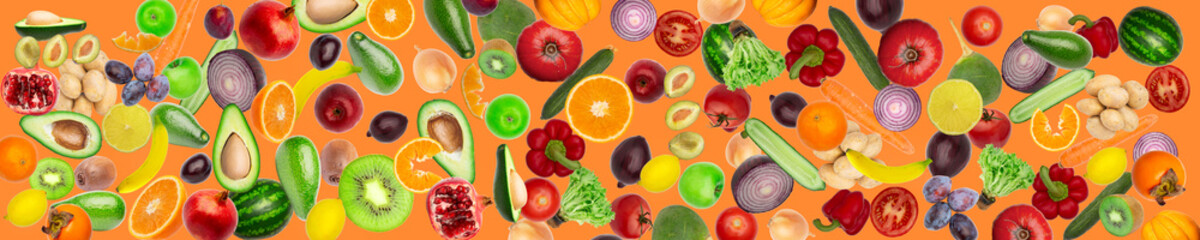 wide panoramic creative collage Pattern of vegetables and fruits. plums and peppers, cucumbers, radish, tomatoes, apples, banana, lemon, orange, watermelon, pomegranate and avocado isolated on white