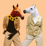 Minimal Contemporary collage art. Stylish horses. Vintage concept - 238566107