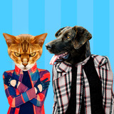 Minimal Contemporary collage art. Stylish hipster dog and cat. Difficult relationship - 238566111