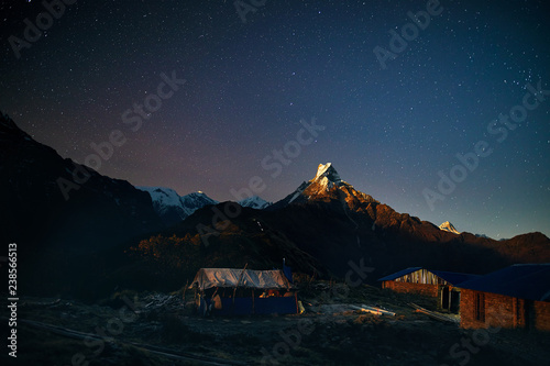 Leinwanddruck Bild Himalayas at night sky with stars