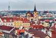 Scenic aerial view over Prague, Czech republic, at daytime. Beautiful travel background.