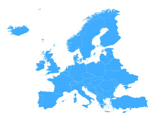 Europe simple vector blue map