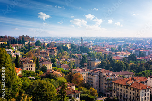 Fototapeta Panoramic view of Bergamo viewed from Old City on a sunny day