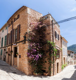 Valldemossa, Mallorca, Balearic Islands, Spain - July 21, 2013: View of the narrow streets of Valldemossa