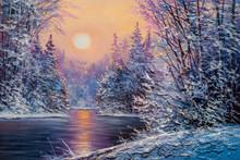"Постер, картина, фотообои ""Christmas forest with river"""