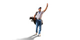 Male golf player on white background. Isolated golfer walking with golf bag