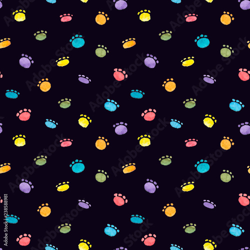 Seamless pattern. Multicolored tracks. Watercolor painting for decorating cards, invitations, stickers, posters for a children's room, textiles and wallpaper. - 238588981