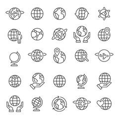 Globes Icons and Symbols Vector illustration Set