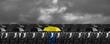 Quadro hands yellow and black umbrella
