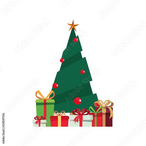 tree gift boxes on white...