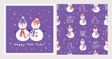 Set of Christmas cards and seamless patterns with cute snowmen. Background for gift wrap, textile, wallpapers and scrapbook. Happy New Year 2019. Doodles, sketch for your design. Vector.