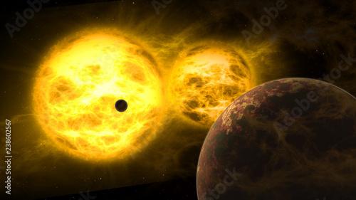 Albireo double suns solar system
