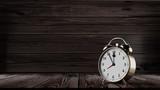Retro alarm clock with five minutes to twelve o'clock. Hight resolution 3d illustration render