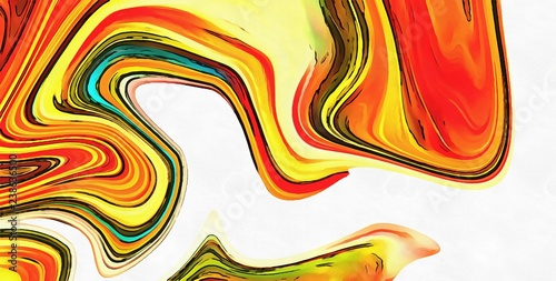 Watercolor abstract marble background. Multi colors swirl pattern. Crazy vivid texture.  - 238636500