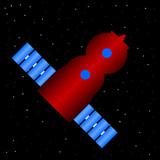 Spaceship icon on stars night sky.