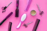 combs for hairdresser hairdresser on pink background top view - 238652305