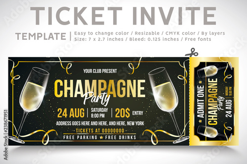 Invitation Ticket Ticket Party New Year Invite Gold Champagne