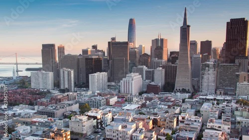 Aerial Panoramic San Francisco Skyline. Drone View of the New Modern Downtown Skyscrapers at Sunset