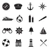 Nautical Icons. Black Flat Design. Vector Illustration.