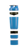 Plastic shaker isolated on white background with clipping path. Shaker for sport food cocktail. Black and blue smart shaker divided into parts. Sport and healthy drink.