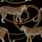 Leopard seamless pattern. Tiger skin print with gold chain. Animal background. Vector illustration - 238685321