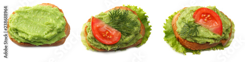 sandwich with avocado cream isolated on white background. Healthy food. top view