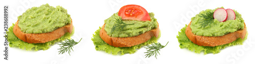 sandwich with avocado cream isolated on white background. Healthy food