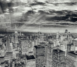 Night lights of Midtown Manhattan skyscrapers. Sunset aerial view of New York City buildings and skyline - 238689300