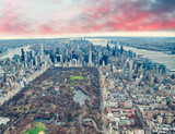 Aerial view of Manhattan. Central Park, city skyscrapers with Hudson and East River in winter season - 238689328
