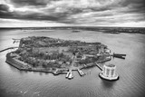 Overhead aerial view of Governors Island from helicopter, New York City in winter - 238689351
