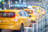 Taxi traffic in New York City at night - 238689528