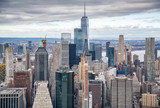 Helicopter view of Downtown Manhattan skyscrapers, New York City - 238689577