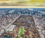 Aerial view of Central Park and New York City from helicopter - 238689587