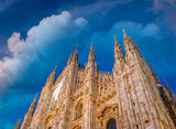 Milan, Italy. Duomo Cathedral facade at sunset - 238689967