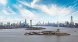 Aerial view of Jersey City and Downtown Manhattan from helicopter - 238690937