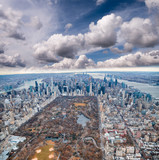 Aerial view of Manhattan. Central Park, city skyscrapers with Hudson and East River in winter season - 238691553