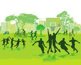 Sport und Spiel im Sommer im Park