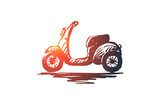 Scooter, bike, speed, vehicle, transport concept. Hand drawn isolated vector.